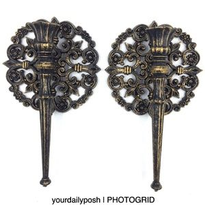 Vintage 70s black gold Rococo candle wall sconces